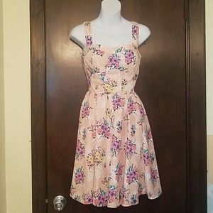 LC Lauren Conrad Pink Floral Bustier Dress